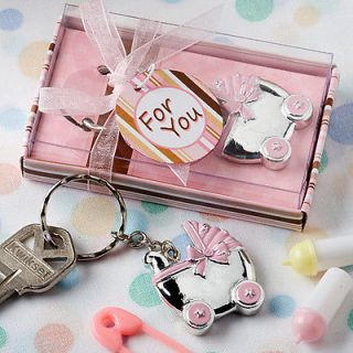 Pink Baby Carriage Design Key Chains Baby Shower Favors Baby Christening Favors