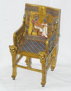 New King Tut Throne Egyptian Miniature Decor or Doll Chair 7 3 8""