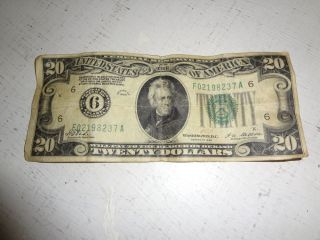 1928 6 Gold $20 Dollar Bill Old Paper Money US Currency Bank Note Atlanta Cash