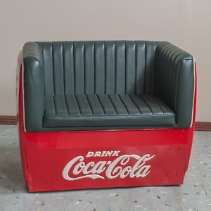 "Vintage 1950's Coca Cola Cooler Love Seat Couch Chair ""Man Cave"""