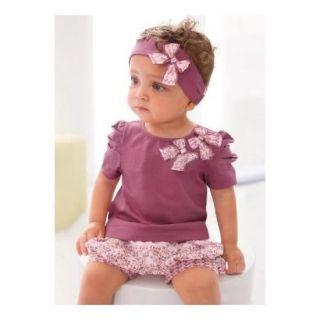 3pcs Kid Baby Girl Headband Top Pants Shorts T Shirt Set Clothes Outfit NO100