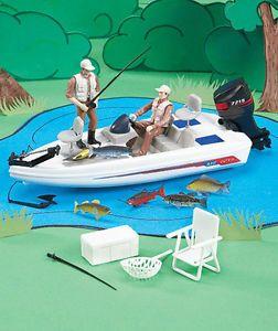 New Kids 18 PC Bass Fishing Figurine Playset w Boat Fish Motor Men Chair Cooler