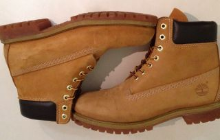 "Mens Timberland 10061 6"" Premium Classic Leather Waterproof Shoes Boots Sz 10 5M"