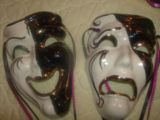 Mardi Gras Masks Comedy Tragedy Pair New Saints Orleans