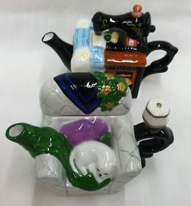 2 Houston Harvest Gift Products Miniature Sewing Machine and Cat in Chair Teapot
