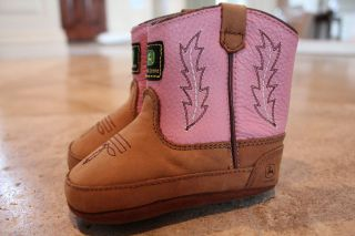 John Deere 190 Western Boot Baby Cowgirl Boots Size 4 Pink Leather