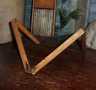 Antique Vtg No 68 Stanley Brass Boxwood Folding Rule Ruler Tool