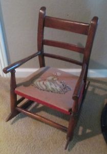 Vintage Childs Wooden Rocking Chair Rocker with Fabric Cushion