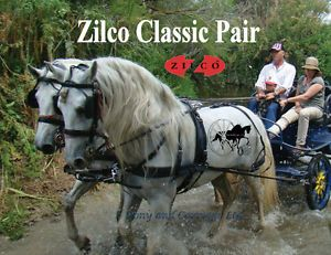 Zilco Black Pair Classic Carriage Driving Horse Harness Std Collar Wipe Clean