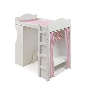 "Badger Toys Loft Doll Bed w Armoire Desk Chair Bench Fits American Girl 24"" Doll"