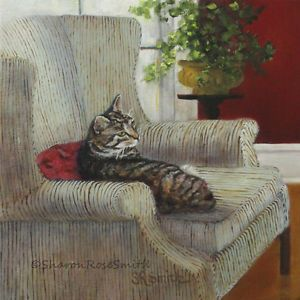 Original Oil Painting Gray Tabby Cat Striped Arm Chair by Sharon Rose Smith