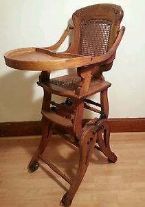 Vintage Wood Baby High Chair