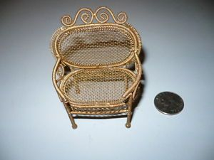 Vintage Metal Dollhouse Miniature Furniture Wire Mesh Chair
