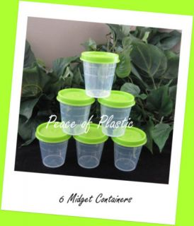 Tupperware Classic Midgets Small Condiment Dressings Pill Containers Green New