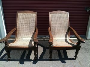 Antique Pair British Raj Anglo Indian Colonial Planter's Planters Cane Chairs