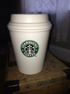Starbucks Coffee Ceramic to Go Cup Large Canister with Lid Mermaid Logo