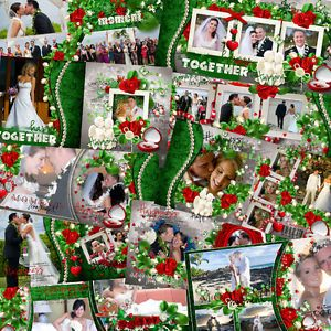 Wedding Digital Photo Book Templates Photoshop Album Frame Backdrop Background 3