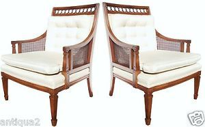 Pair Chic French Directoire Regency Style Walnut Caned Bergeres Lounge Chairs