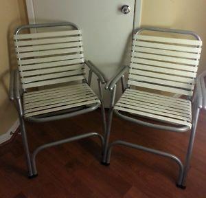 2 Vtg Aluminum Frame Plastic Slats Folding Lawn Patio Chairs Double Barrel Arms