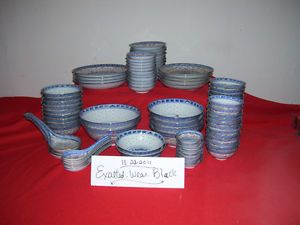 88 Piece Vintage Blue Dragon Dinnerware with Red and Gold Trimmings