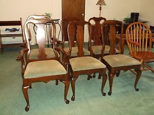 6 Vintage Pennsylvania House Queen Anne Style Cherry Dining Chairs