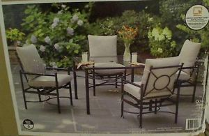 Hampton Bay Barnsley 5 Piece Patio Dining Set Textured Silver Pebble  Cushions