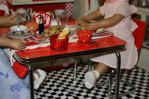 American Girl Molly Red Table and Chairs Dishes Food Items Fully Clothed Doll