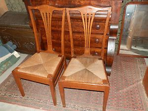 Pair of Antique Victorian Tiger Oak Rush Seated Chairs
