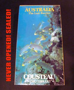 "Jacques Cousteau Video ""Australia The Last Barrier"" SEALED Documentary VHS"