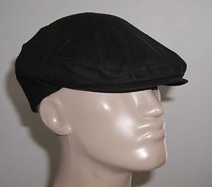 New Men's Stylish Cool Linen Cotton Ivy Driving Golf Hat Cabbie Cap Black