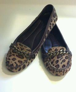 J Crew Calf Hair Cheetah Leopard Animal Print Flats Loafers Shoe Driving Mocs 8