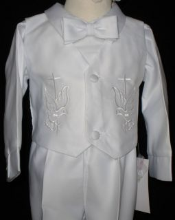 Baby Boy Baptism Christening White Gown Tuxedo Outfit Size XS s M L XL 0 24M