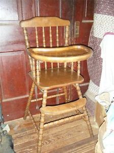 Vintage Retro Solid Wood Turned Spindle Baby Toddler Child High Chair Jenny Lind