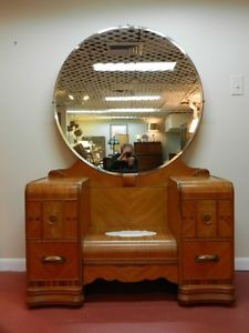 Art Deco Waterfall Vanity with Mirror Chair