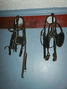 2 Antique Driving Horse Harness Bridles Used Horse Tack Lot