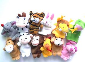 12 x Finger Puppet Cow Dog Monkey Pig Baby Toy Party Favor Supply Bag PU014