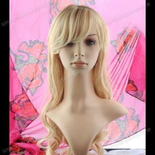 Blonde Party Cosplay Women Wavy Curly Long Hair Full Wig Wigs Costume Lady S006