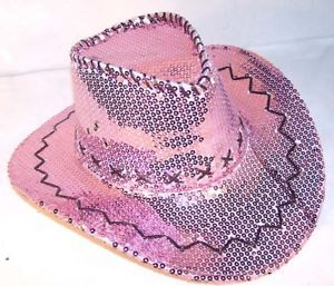 Sequin Pink Cowboy Hat Party Supply Western Dance Hats