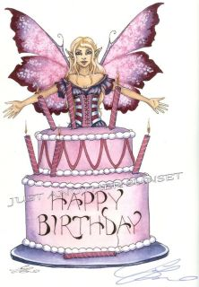 Amy Brown Print Signed Happy Birthday Fairy Faery Sign Cake Party Supply Pink