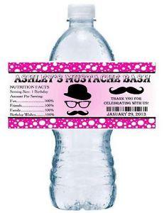 20 Pink Mustache Moustache Bash Birthday Party Favors Water Bottle Labels