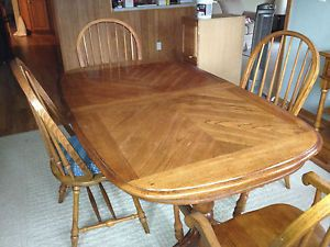 Solid Oak Dining Room Table Side Server 8 Chairs Two Extension Leafs