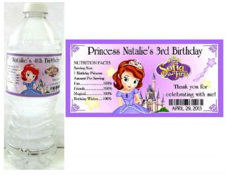 20 Princess Sofia The First Birthday Party Favors Water Bottle Labels