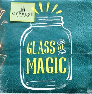 Cypress Home Cocktail Beverage Paper Napkins Set of 40 Glass of Magic