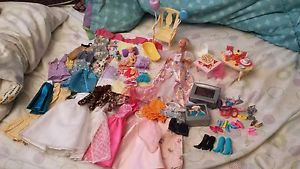 Big Lot of Barbie Accessories Shoes TVs Clothes Chairs Dishes Food Babybarbie