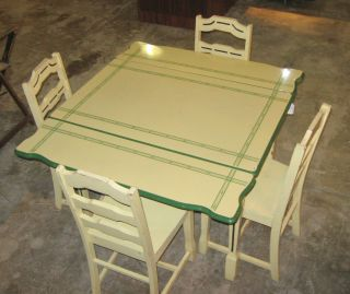 1940s enamel top table green and cream with 4 chairs dining room table e264     enamel top table hoosier antique accompaniment utility kitchen      rh   popscreen com