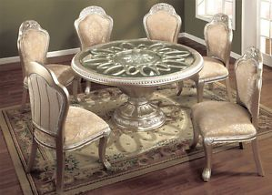 7pc Elegant European Silver Round Wood Dining Table Fabric Chairs Set Furniture