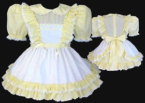 Custom Fit Yellow Eyelet Adult Baby Sissy Little Girl Pinafore Dress Leanne