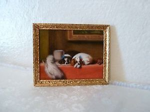 "Exquisite Mini Painting ""Spaniels of King Charles Breed"" Melissa Wolcott 1989"