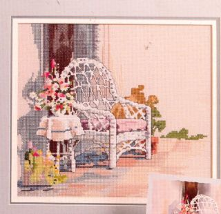 Lovely White Wicker Chair Cross Stitch Pattern