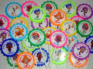 30 Bubble Guppies Personalized Cupcake Toppers Birthday Party Favors Supply